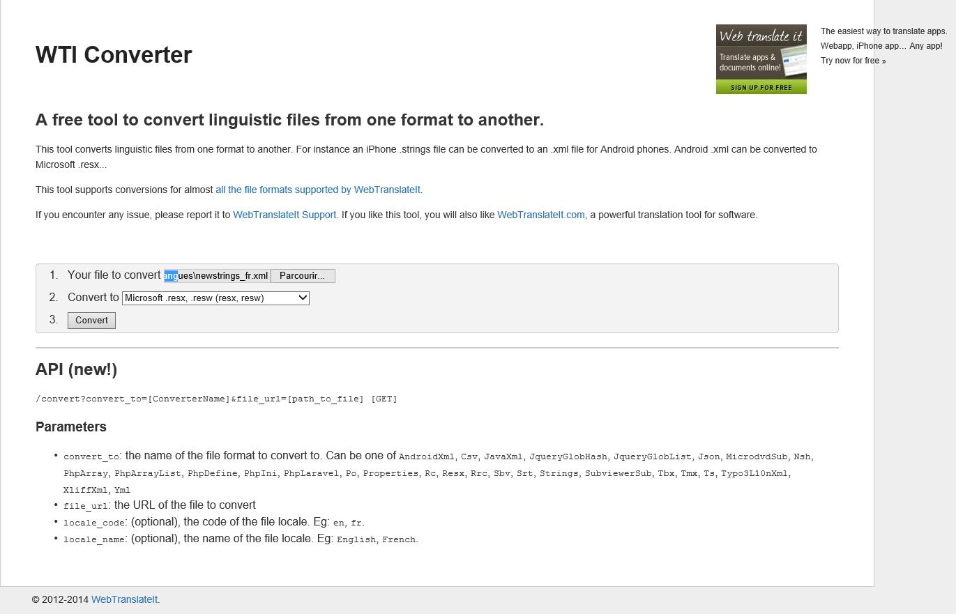 Capture d'écran du site WTI Converter